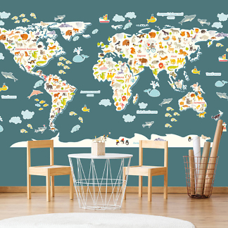 Карта Мира в детскую комнату / Без фона 230х130 см