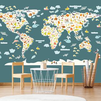 Карта Мира без фона 230х130 см