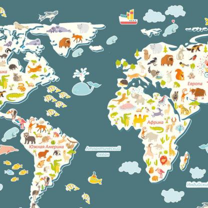 Карта Мира в детскую комнату близко
