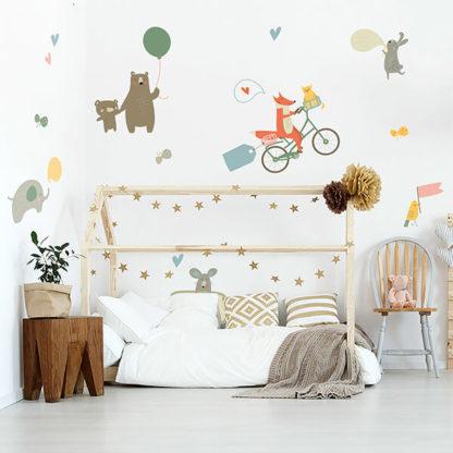 Животные детские на стену с лисой