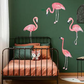 Наклейка на стену фламинго