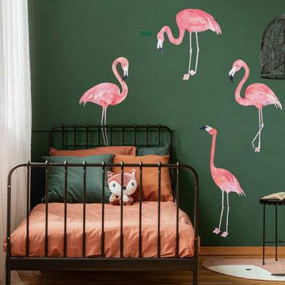 Фламинго на стене наклейка