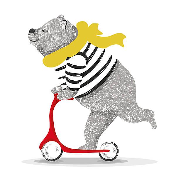Наклейка Медведь на самокате