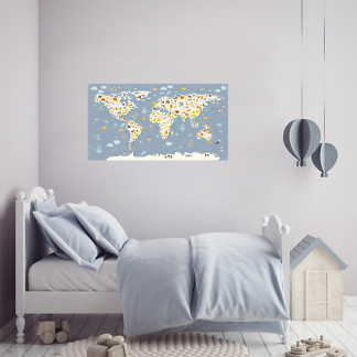 Наклейка на стену Карта мира для детей / Васильковая 110х60 см