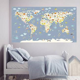 Карта мира Детская Большая / Васильковая 200х110 см