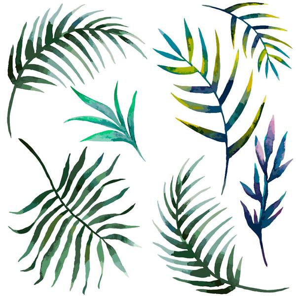 Наклейка интерьерная Листики Тропические
