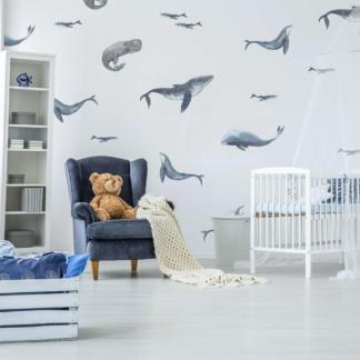 Наклейка на стену киты  в детскую