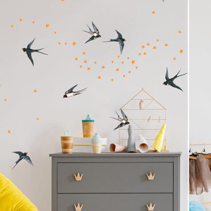 Наклейки на стену Птицы в детскую