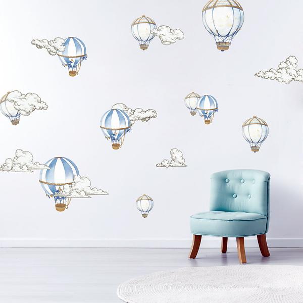 Наклейка Воздушные шары в облаках  - фото