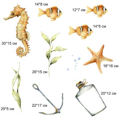 рыбки на стене наклейки на стену