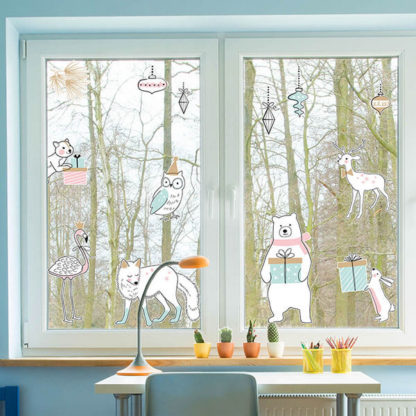 Зимние Наклейки на окна и мебель