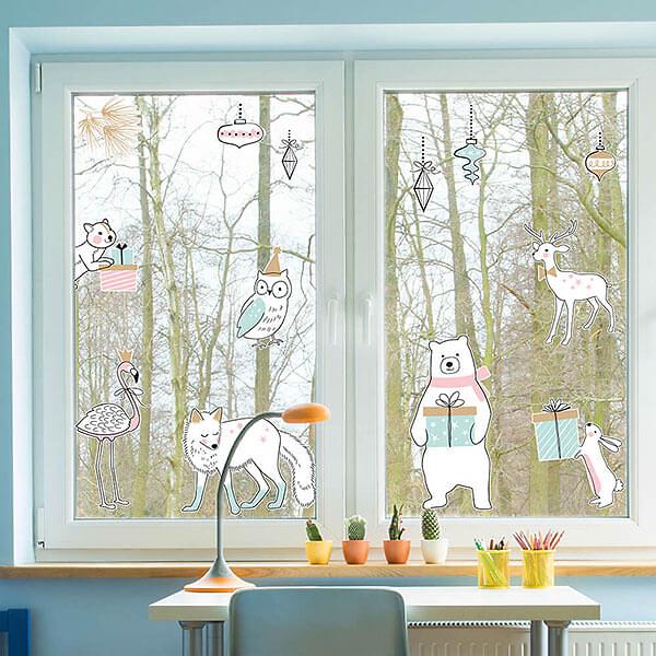 Зимняя Наклейка на окна и мебель  - фото