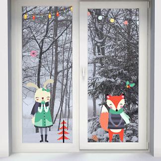 Наклейки на окно Новый Год