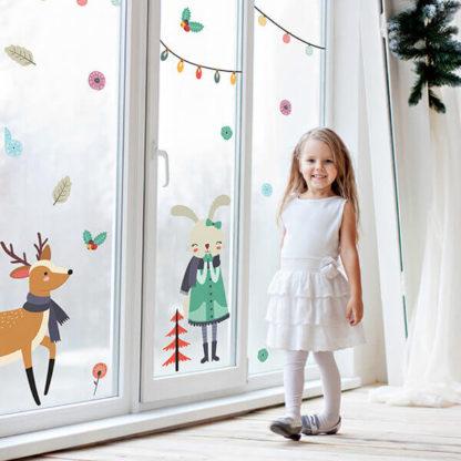 Наклейки на окно Новый Год в детскую