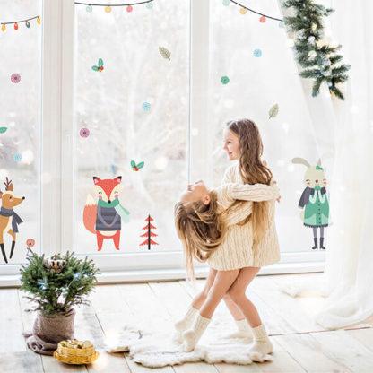 Наклейки на окно Новый Год в детскую комнату