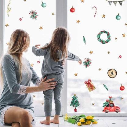 Новогодние Наклейки на окна и мебель с машинкой