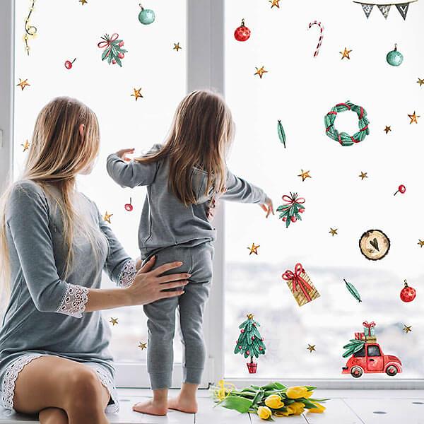 Новогодняя Наклейка на окна и мебель с машинкой