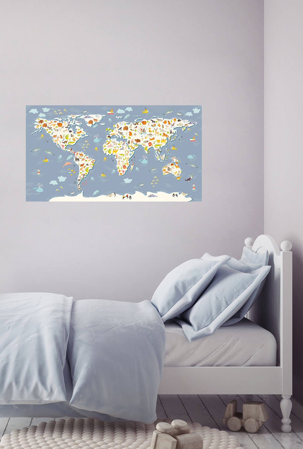 Детская карта мира на стену