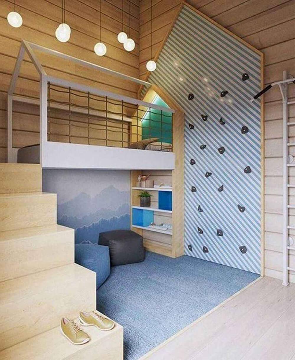 Как оформить стены детской школьника. Горы фотообои и скалодром