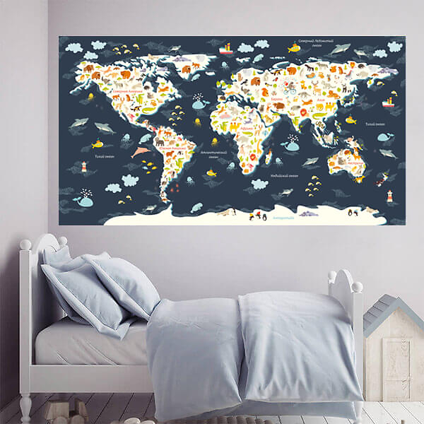 Большая Карта мира для детей / Темно-синяя 200х110 см  - фото
