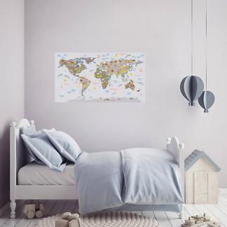 Карта мира на стену / Серая на сером фоне 110х60 см