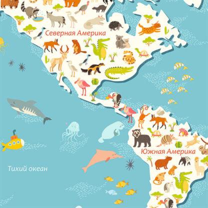 Фрагмент детской карты мира на стену с животными