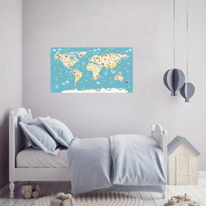 Детская карта мира на стену с животными