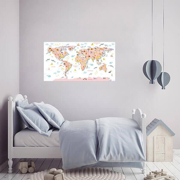 Интерьерные наклейки Карта мира / Розовая на белом фоне 110х60 см  - фото