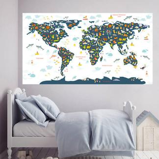 Карта мира детская с животными / Синяя на белом фоне 200х110 см