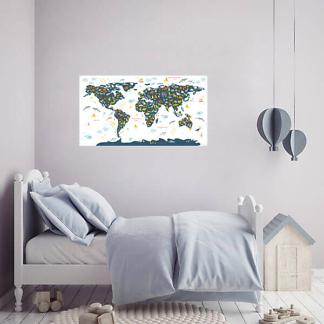 Наклейка Карта мира для детей на стену / Синяя на белом фоне 110х60 см