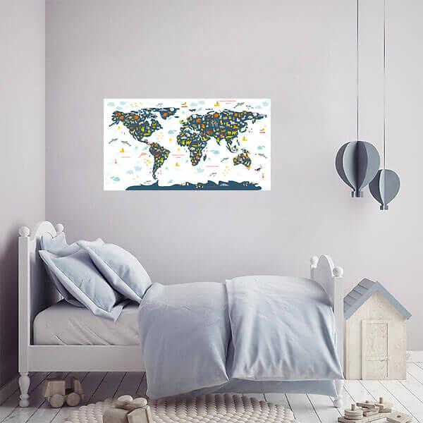 Наклейка Карта мира для детей на стену / Синяя на белом фоне 110х60 см  - фото