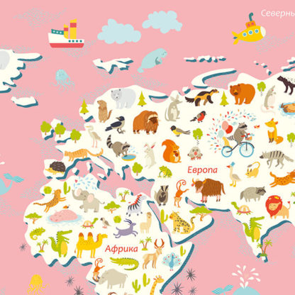 Фрагмент карты мира для детей на стену крупная