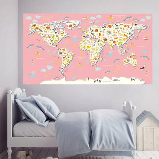 Карта мира для детей на стену крупная / Розовая 200х110 см
