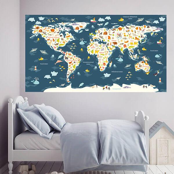 Карта мира на стену большая для детей / Синяя 200х110 см