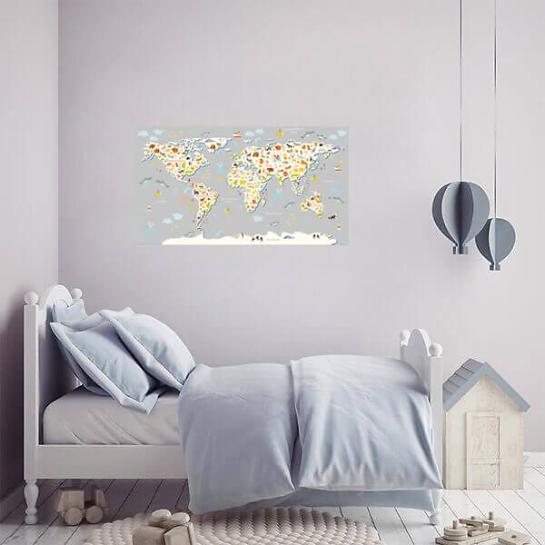 Карта мира наклейка детская / Серая 110х60 см