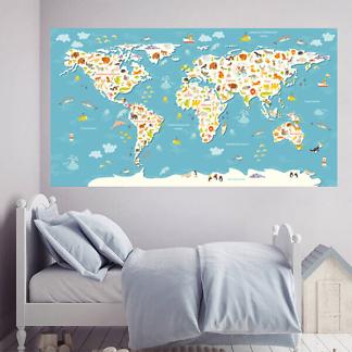 Наклейка Карта мира с животными / Голубая 200х110 см