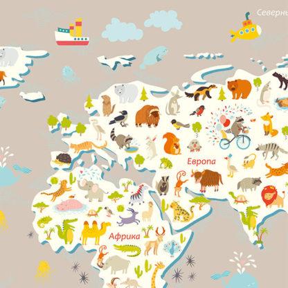 Фрагмент карта мира с животными для детей