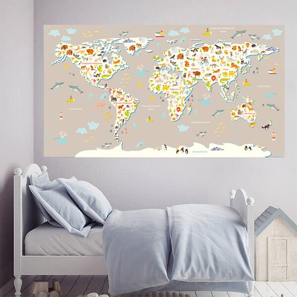 Карта мира с животными для детей / Бежевая 200х110 см
