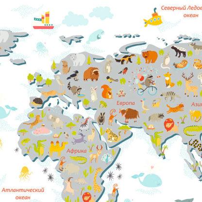 Фрагмент карты мира с растительным миром и животным