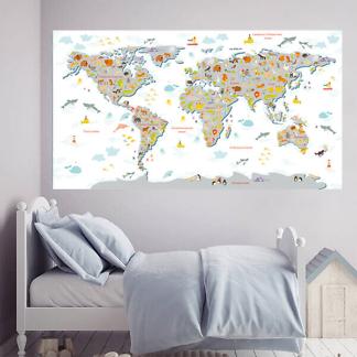 Карта животный и растительный мир / Серая на белом фоне 200х110 см