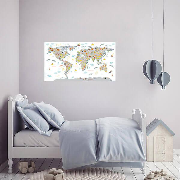 Лучшая Карта мира для детей / Серая на белом фоне 110х60 см