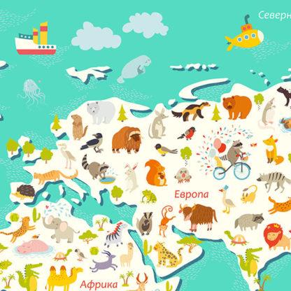 Фрагмент наклейка карта мира
