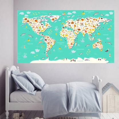 Наклейка карта мира бирюзовая