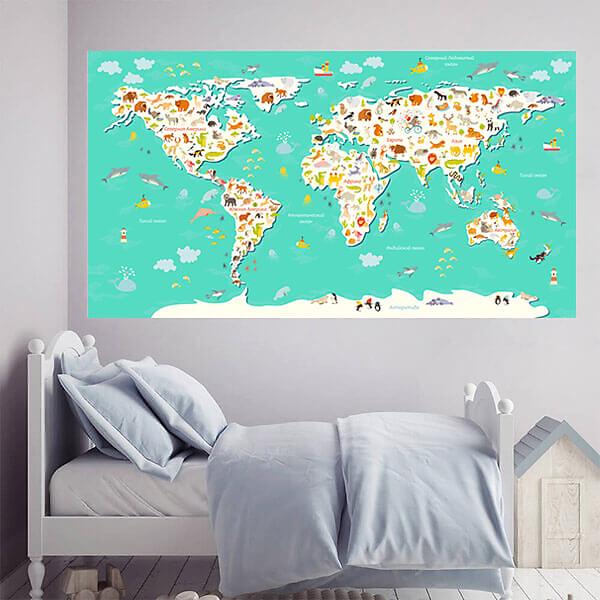Наклейка Карта мира детская / Бирюзовая 200х110 см