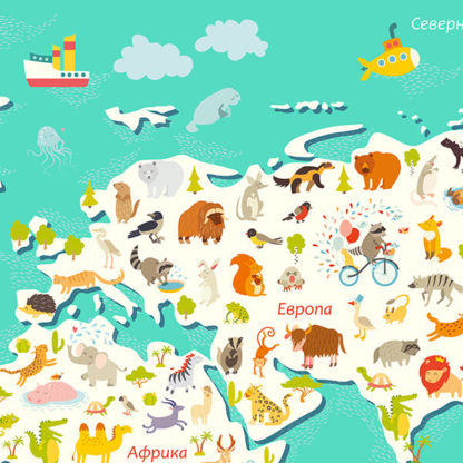 Фрагмент наклейки карты мира на стену для детей