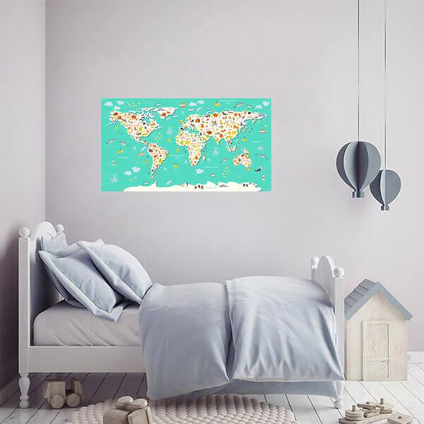 Наклейка Карта мира на стену для детской / Бирюзовая 110х60 см  - фото