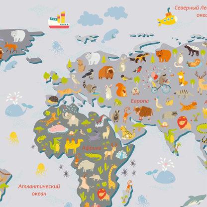 Фрагмент наклейка на стену карта мира