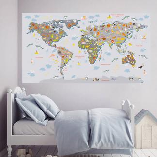 Наклейка на стену Карта мира / Серая на сером фоне 200х110 см