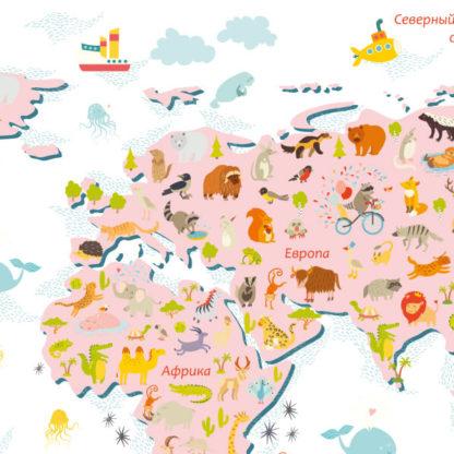 Фрагмент наклейка на стену карта мира большая