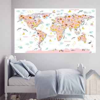 Наклейка на стену Карта мира Большая / Розовая на белом фоне 200х110 см